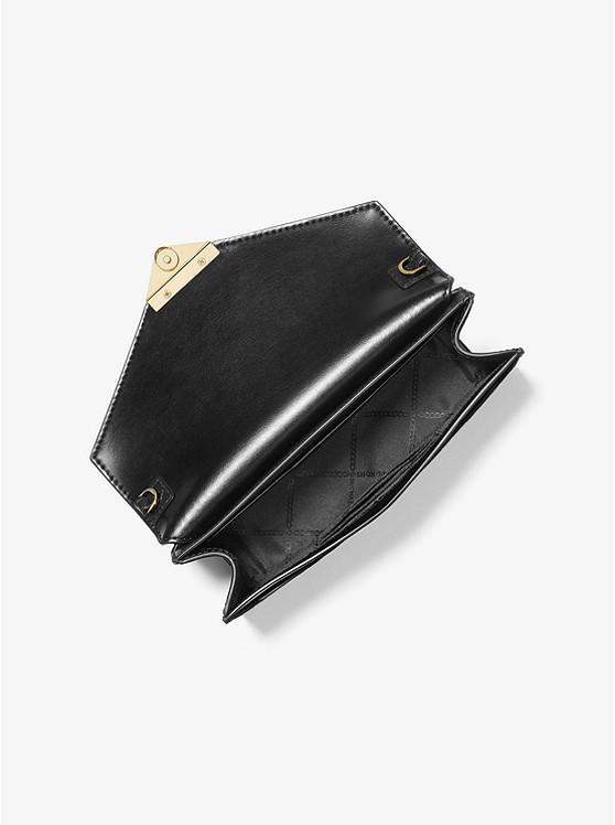 Túi xách Michael Kors mẫu mới nhất 2021 màu đen cho nữ 30F0GGHC6E- GRACE-MD ENVELOP CLUTCH EMBOSSED LEATHER- BLACK