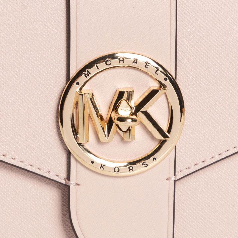 Túi xách Michael Kors dự tiệc dây xích mẫu mới năm 2021 32S0G00C6L- MK CHARM MD WLLT ON CHN XBODY- SOFT PINK