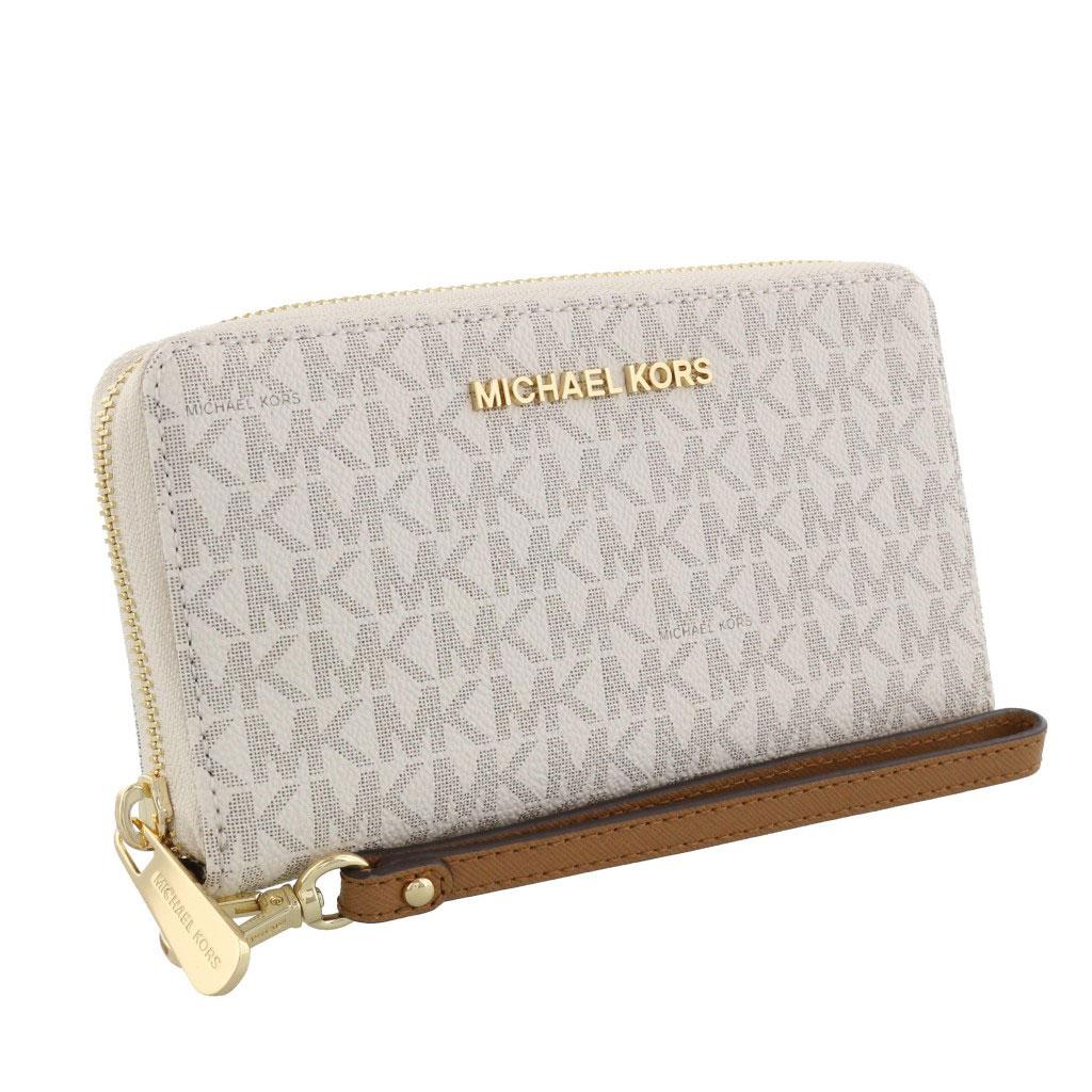 Ví Michael Kors size trung 18cm vanilla Jet Set Travel Medium Vanilla, ví cầm tay MK chính hãng, bóp cầm tay Michael Kors nữ USA