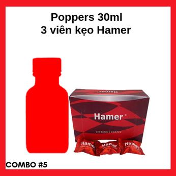 Combo #5 Popper 30ml cao cấp siêu mạnh mẽ và kẹo ngậm Hamer tăng cường sinh lực cho quý ông