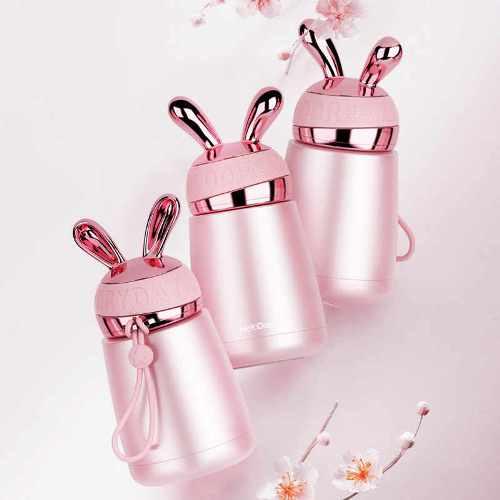 Bình giữ nhiệt cao cấp mini thỏ hồng | Nhận in logo công ty
