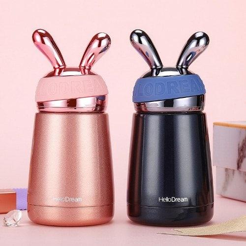Bình giữ nhiệt cao cấp mini thỏ xanh đen | Nhận in logo công ty