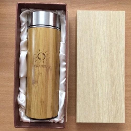 Bình giữ nhiệt vỏ gỗ tre trúc inox 304 | NHẬN KHẮC IN LOGO