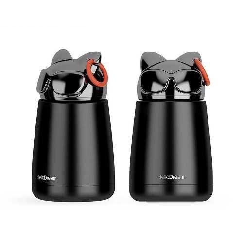 Bình thủy tinh giữ nhiệt mini mèo đen | Nhận in logo công ty