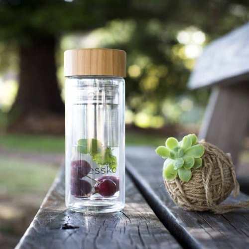 Bình giữ nhiệt mini thủy tinh nắp gỗ trúc có lõi lọc trà inox 304