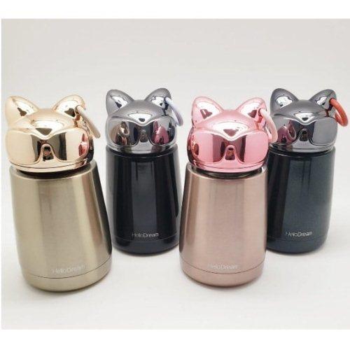 Bình thủy tinh giữ nhiệt mini mèo hồng | Nhận in logo công ty