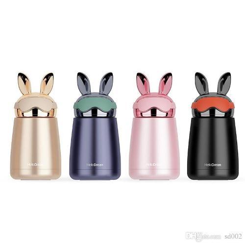 Bình thủy tinh giữ nhiệt mini thỏ vàng | Nhận in logo công ty