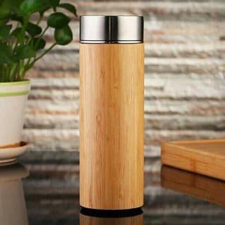 Bình giữ nhiệt vỏ gỗ tre trúc bamboo inox 304 lõi lọc trà | ĐẶC BIỆT