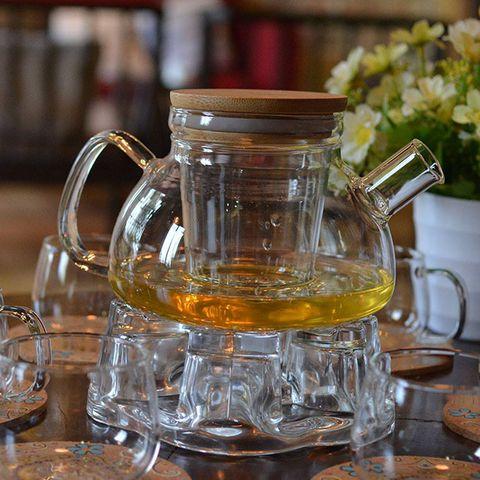 Bộ bình trà thủy tinh lõi lọc trà nắp gỗ   ĐẸP BỀN GIÁ TỐT