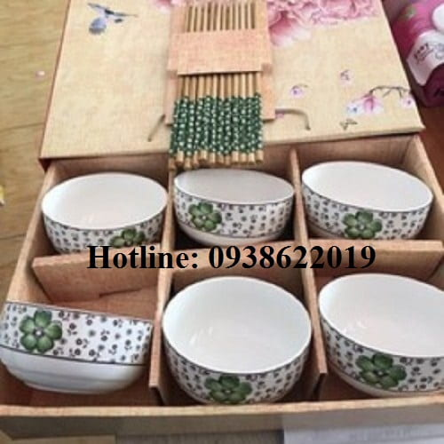Set 6 chén sứ kiểu Nhật và đũa gỗ | QÙA TẶNG CHÉN SỨ