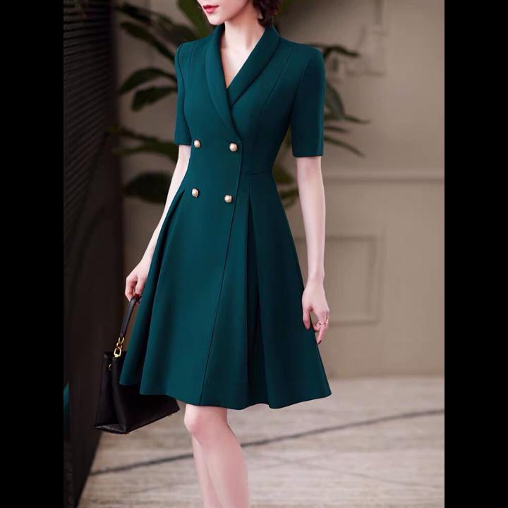 Đầm xanh cổ vest cực sang