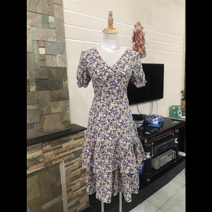 Đầm xòe hai tầng hoa tím đẹp