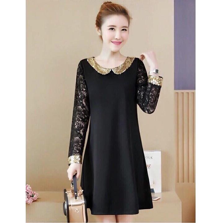 Đầm suông đen viền kim sa tay ren cao cấp