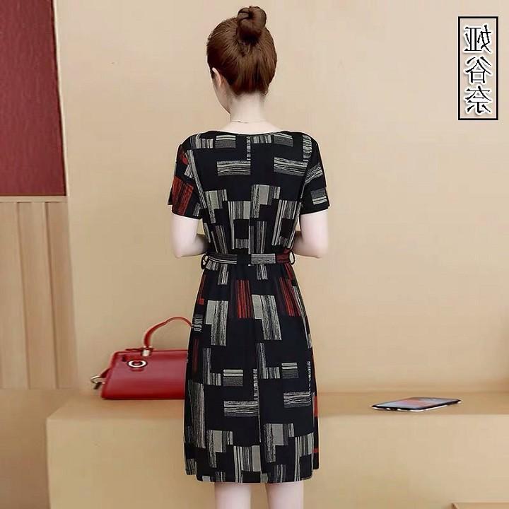 Đầm suông họa tiết màu