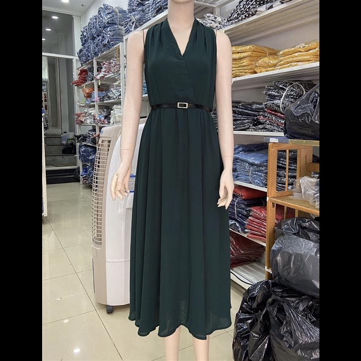 Đầm maxi xanh cổ V kèm nịt sang trọng