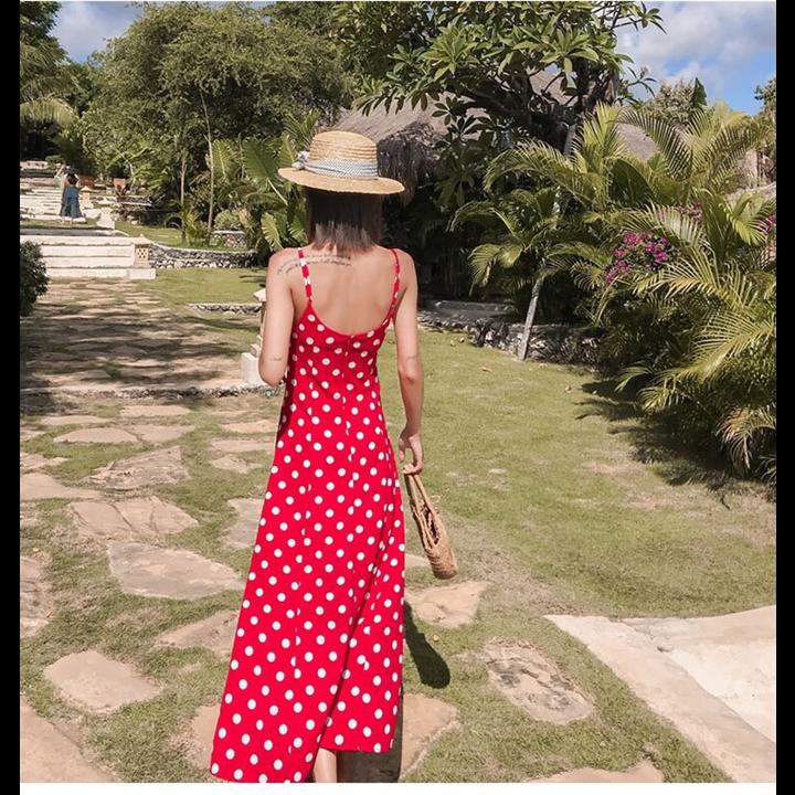 Đầm maxi bi đỏ 2 dây sang trọng