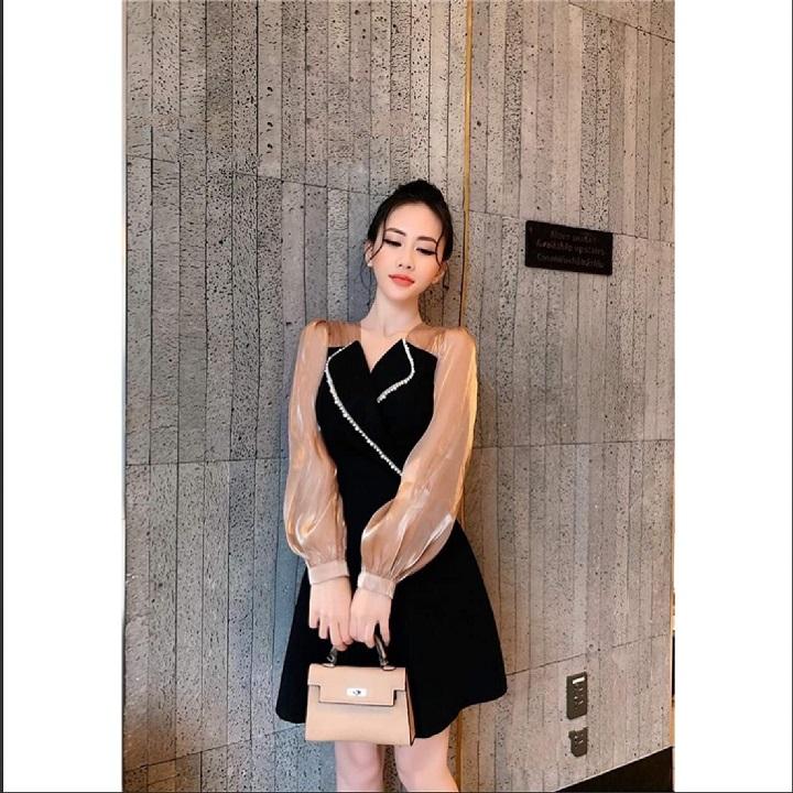 Đầm xòe cổ vest cách điệu