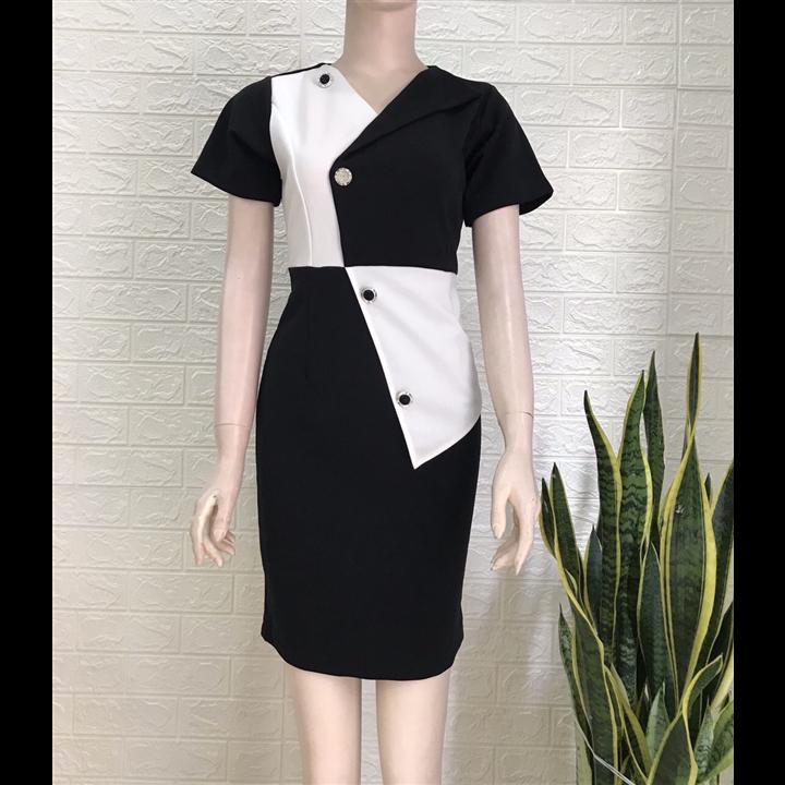 Đầm ôm đen phối trắng