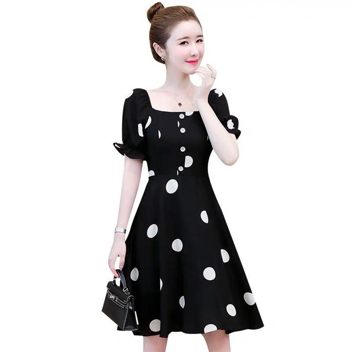 Đầm xòe đen chấm bi trắng đẹp