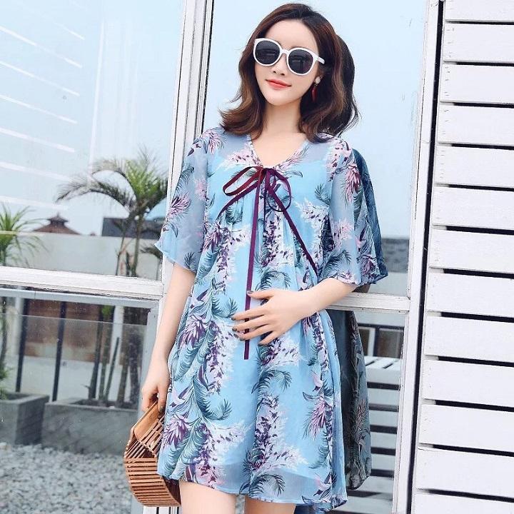 Đầm suông form rộng họa tiết lá dừa