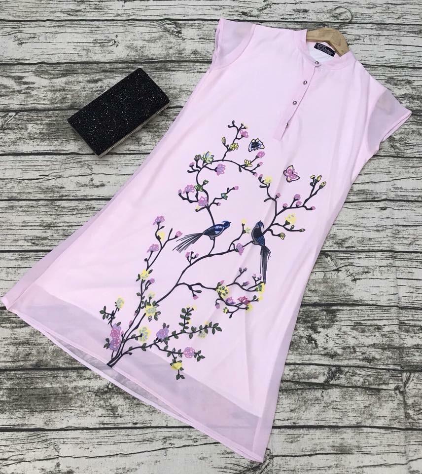 Đầm suông cổ trụ in hoa bướm cực xinh