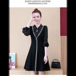 Đầm đen viền trắng tay bi đẹp