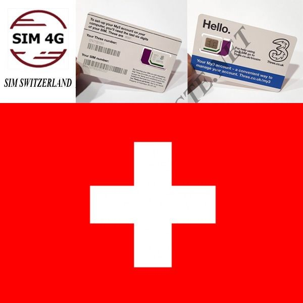 SIM 4G THỤY SĨ 30 Ngày, 12GB