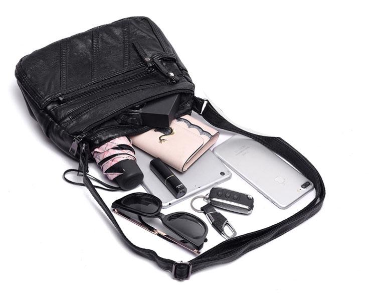Túi đeo chéo da cổ điển kiểu 1 chỉ thẳng thời trang cao cấp SDK3 Shalla (túi đeo chéo da nữ nguồn sỉ)