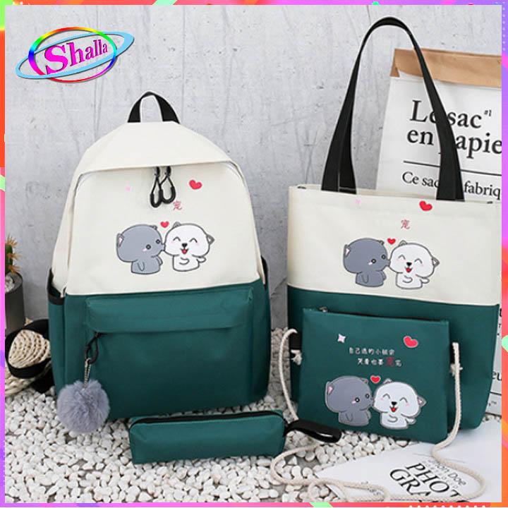 Bộ combo 4 món túi đeo balo hình 2 chú chó thời trang KN95 Shalla (bộ túi combo nguồn giá sỉ)