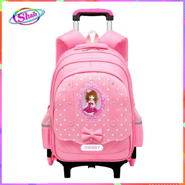 Balo kéo cho trẻ đi học in hình công chúa anh quốc 3D  loại 6 bánh xe có chức năng chống Gù Shalla (balo kéo cho trẻ đi học chuyên sỉ)