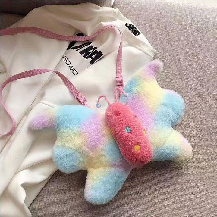 Túi đeo vai gấu bông bướm cầu vòng thời trang siêu đẹp HX8 Shalla (túi đeo vai gấu bông giá sỉ)