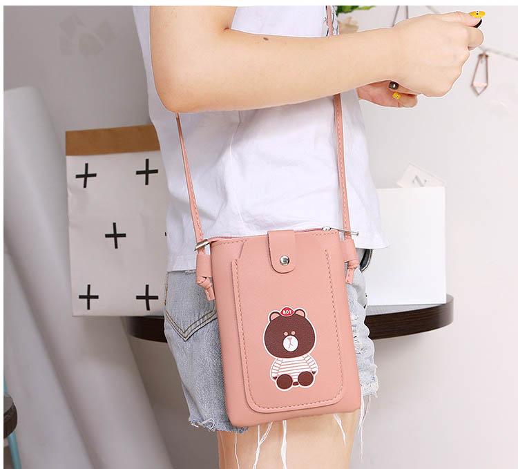Túi nữ mini đựng điện thoại đeo chéo thời trang dọc nắp hình gấu nâu NK9 Shalla [chuyên sỉ lẻ], hàng đẹp không lỗi , chính sách 1 đổi 1 phương châm hợp tác khách hàng sỉ lâu dài