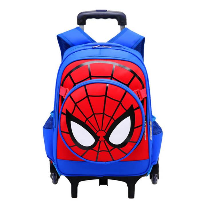 Balo kéo cho trẻ em đi học in hình tơ nhện kèm khiêng thời trang có chức năng chống Gù Shalla (tìm nguồn hàng balo kéo cho trẻ em giá sỉ)