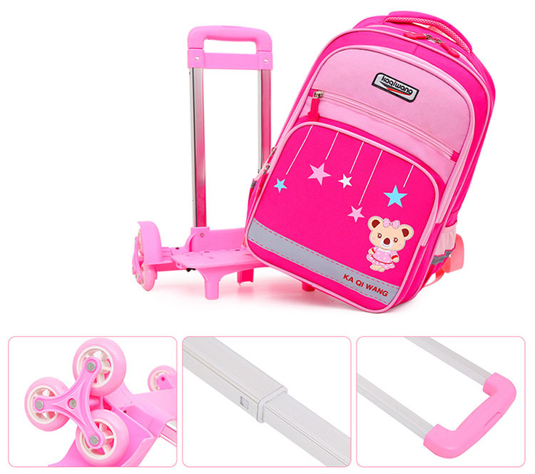 Balo cần kéo trẻ em chống mòn đi học in hình Gấu sao băng cao cấp loại 6 bánh xe đa năng Shalla (sỉ ba kéo giá rẻ)