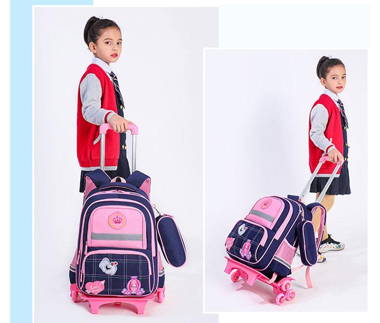Balo kéo cho trẻ đi học In hình vui nhộn cao cấp kèm túi đựng bút có phản quang  3D loại 6 bánh xe có chức năng chống Gù Shalla (balo kéo chuyên sỉ)