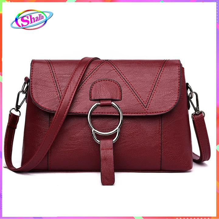 Túi đeo chéo da lưới nắp thời trang dạo phố SKM0 Shalla (túi đeo chéo da giá sỉ)