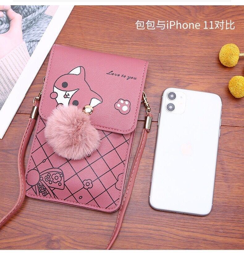Ví cầm tay đeo chéo đựng điện thoại cún đáng yêu có cảm ứng mặt sau Shalla (sỉ túi ví điện thoại giá rẻ)