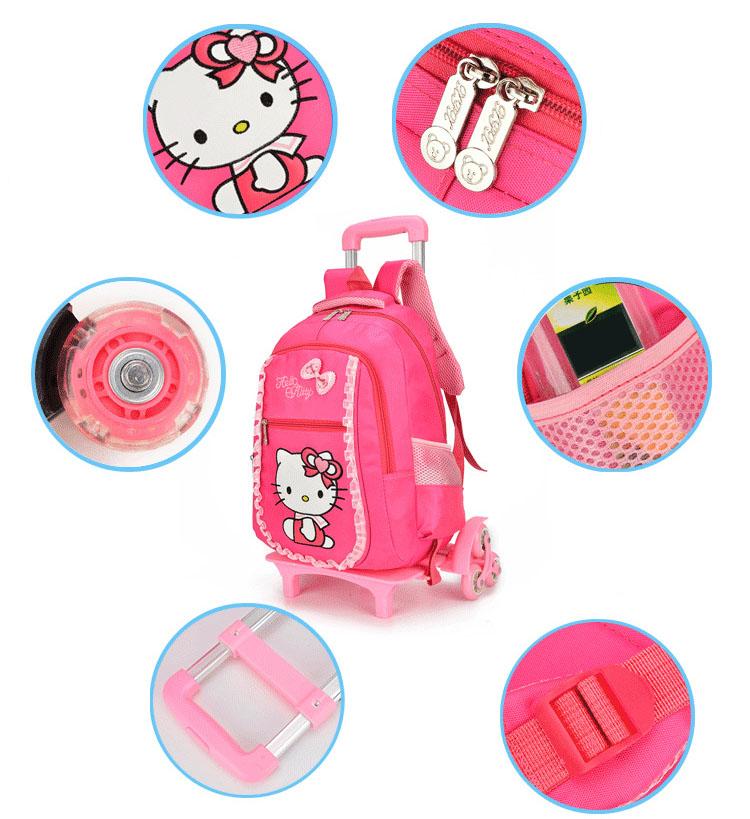Balo cần kéo bé gái mẫu giáo đến lớp 1 Mèo hoa Full hồng 1 Bộ cao cấp loại 6 bánh xe đa năng Shalla (xưởng sỉ ba kéo giá rẻ)