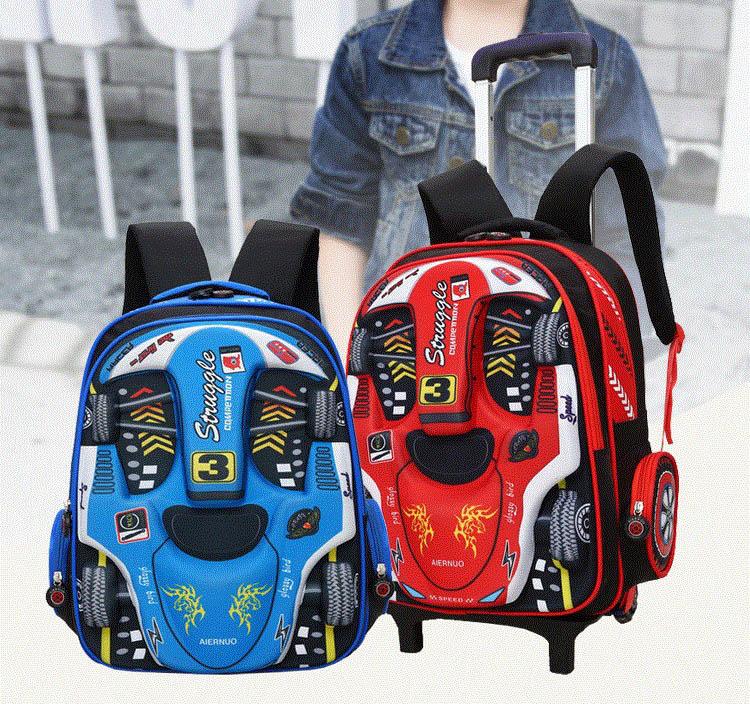 Balo cần kéo trẻ em đi học in hình siêu xe đỏ-xanh cao cấp loại 6 bánh xe đa năng Shalla (balo cần kéo trẻ em đi học in hình siêu xe giá sỉ rẻ)