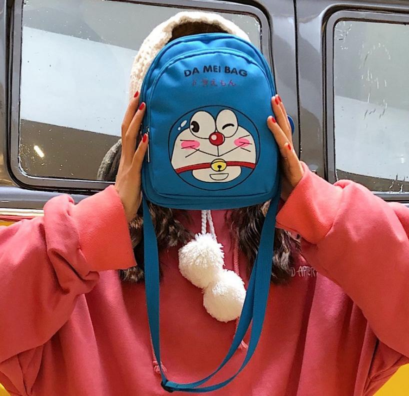 balo đeo chéo đa năng  DOREMON - PIKACHU - BÁO HỒNG thời trang dễ thương W85 Shalla (balo đeo chéo đa năng giá sỉ rẻ)