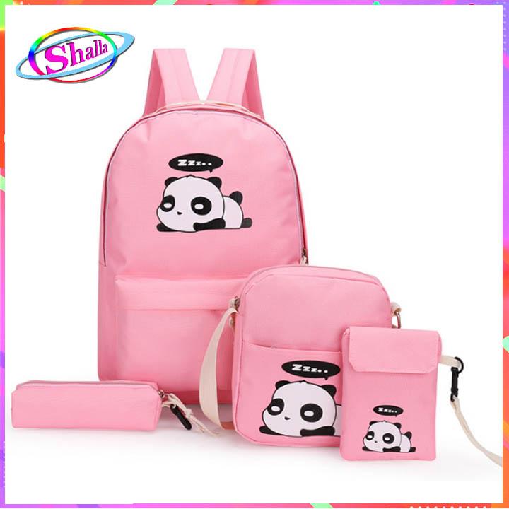 Bộ combo 4 món balo túi đeo chéo nữ gấu trúc thời trang  FS82 Shalla (tìm hàng balo combo giá sỉ)