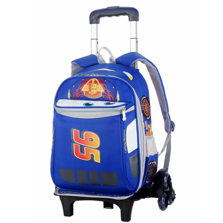 Balo cần kéo loại 6 bánh xe cho trẻ em đi học in hình siêu xe 95 3D cao cấp thời trang Shalla (balo cần kéo loại 6 bánh xe giá sỉ