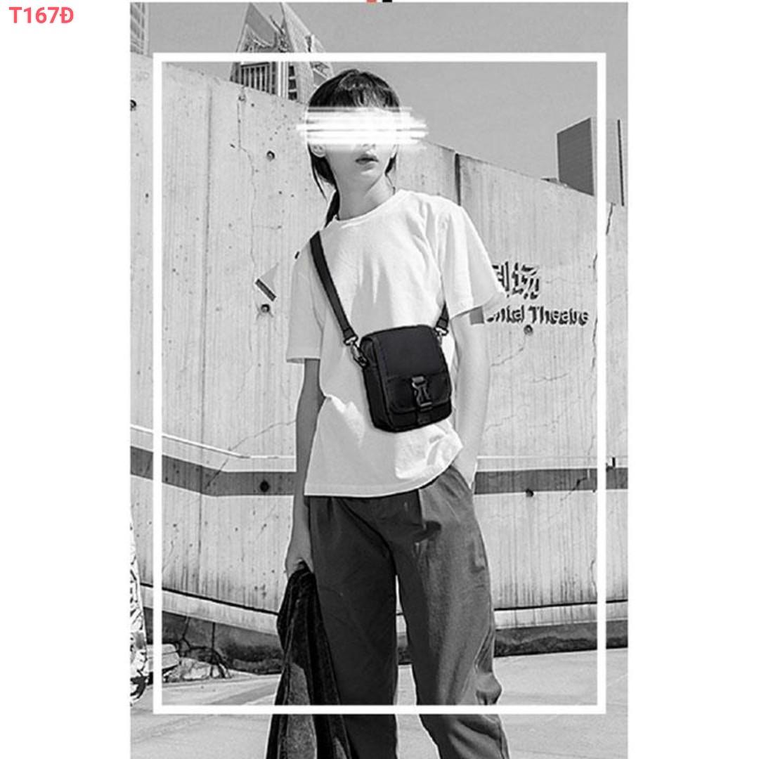 Túi đeo chéo bố mini nắp gài đen ngầu thời trang HK80 Shalla [túi đeo chéo vải mini giá sỉ] tìm nhà phân phối túi đeo chéo