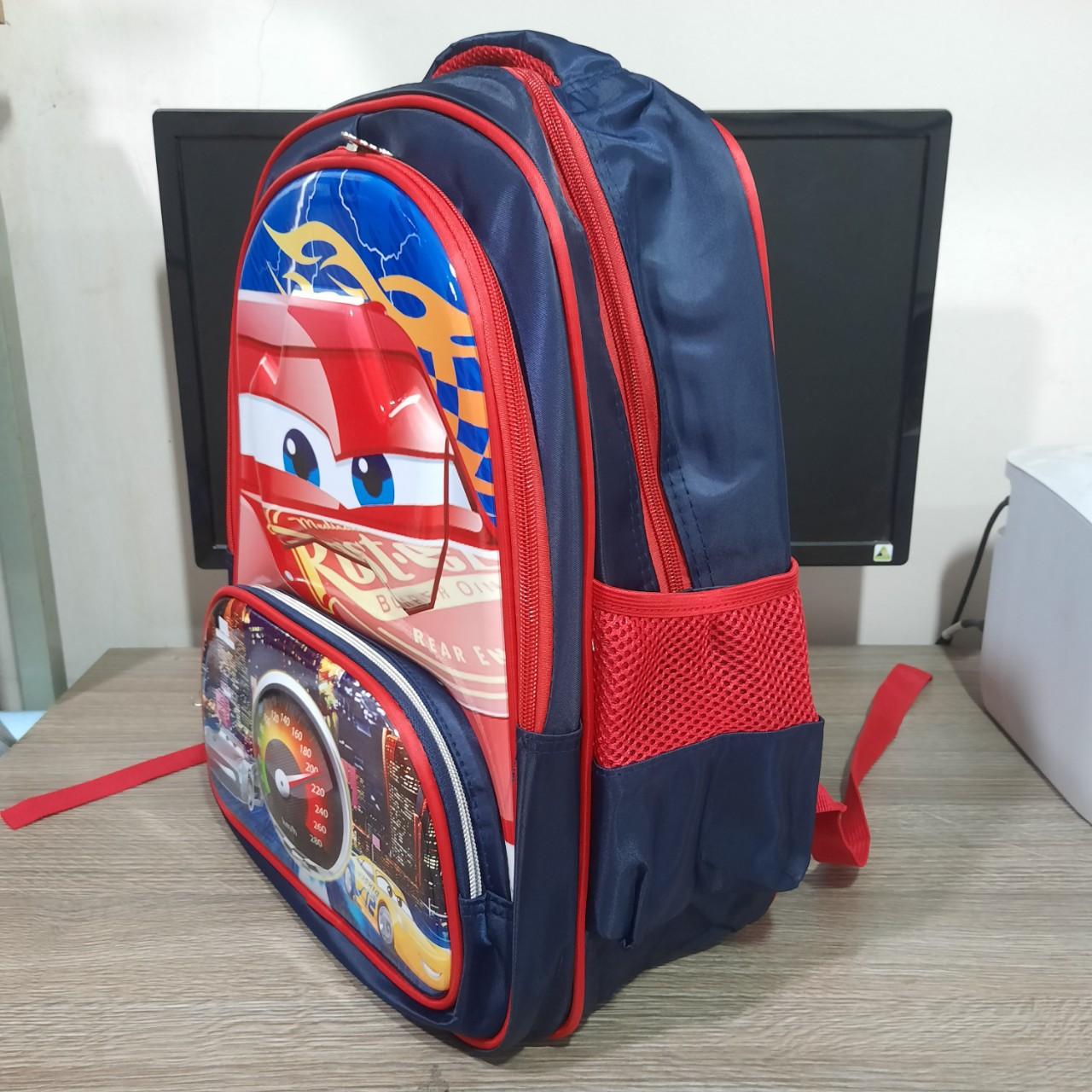 Balo học sinh cấp 1-2 di học In Hình nhện-xe thời trang 1612 Shalla N54 (cung cấp  balo học sinh giá sỉ)