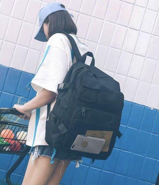 Balo Thời trang trẻ Tri thức trường học Colkids trơn hộp full đen Shalla