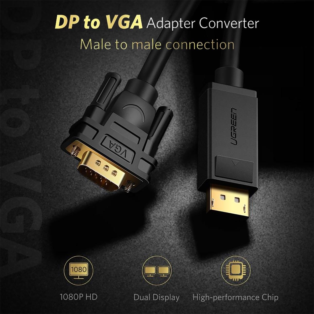 Cáp chuyển Displayport to VGA dài 2M Ugreen 10247