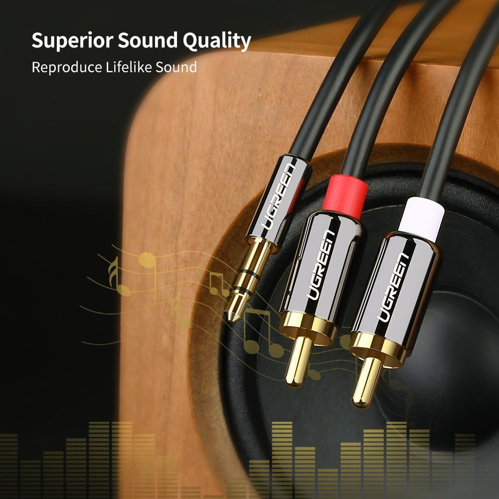 Cáp âm thanh 3.5mm ra 2RCA dài 1M Ugreen 10749