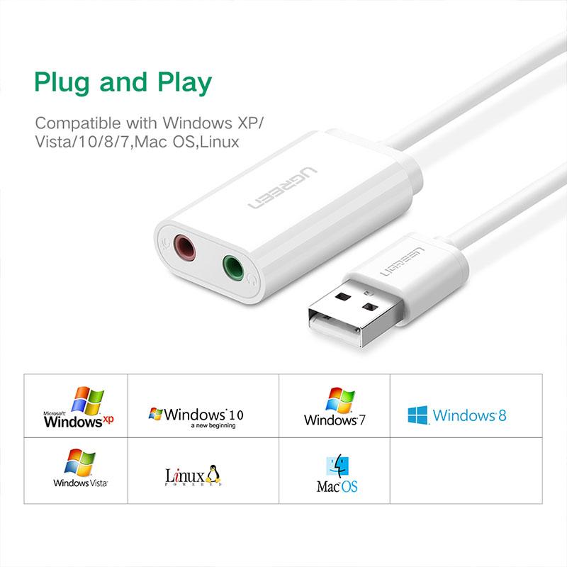 Cáp chuyển USB 2.0 sang3.5mm Ugreen 30143