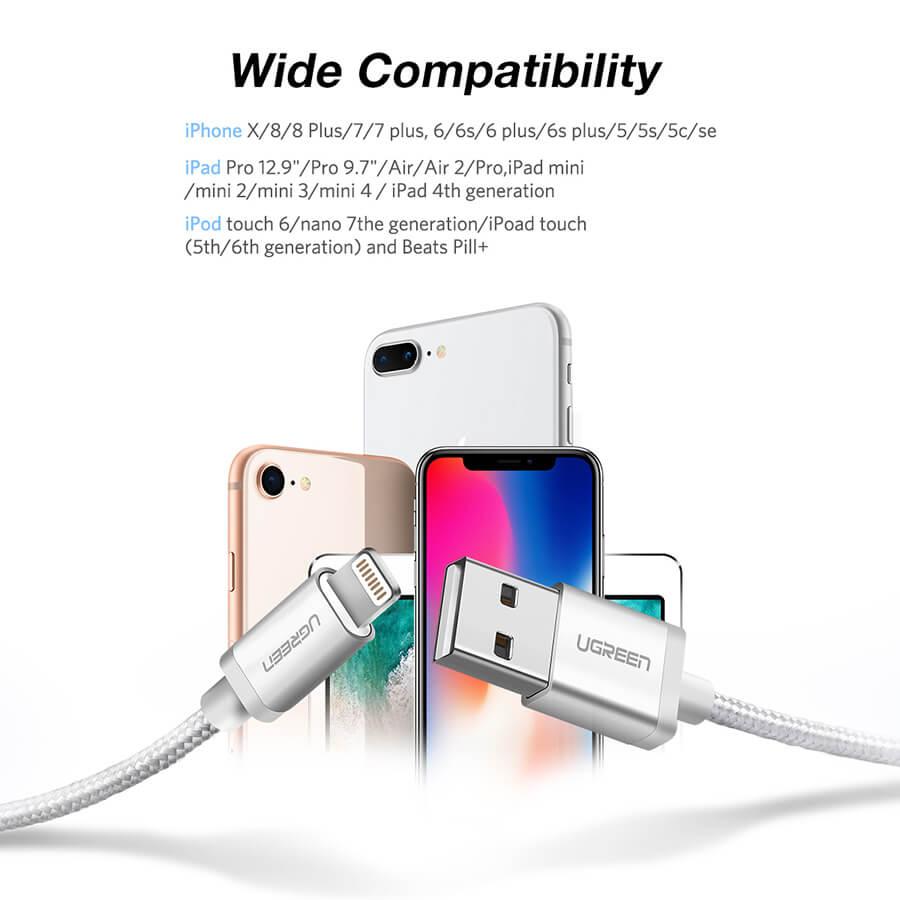 Cáp sạc USB Lightning dài 1m cho Iphone Ugreen 30584
