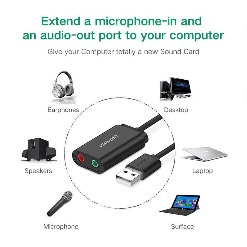 Cáp chuyển USB 2.0 sang3.5mm Ugreen 30724